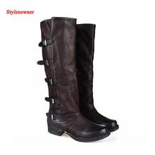 Stylesowner vintage rodilla botas altas mujeres de calidad superior de cuero hebilla de cinturón de moda del dedo del pie cuadrado botas otoño invierno nueva bota