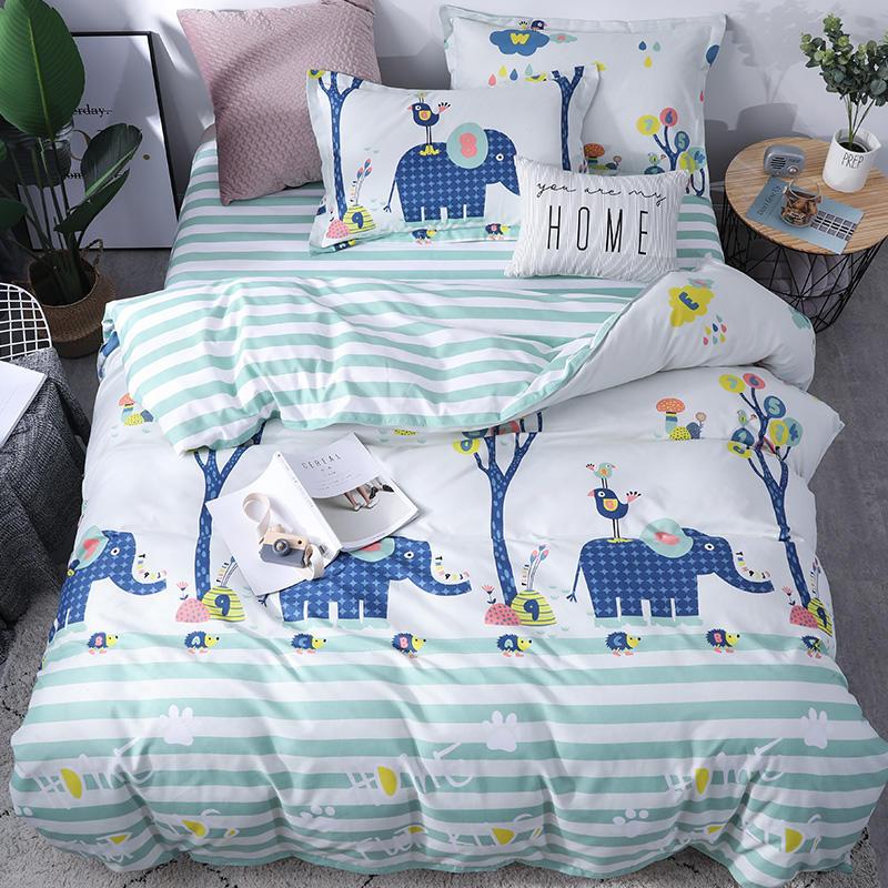 Soft Comfortable Bedding Set 4pcs set Velvet Cartoon Elephant Pattern Flat Sheet Pillowcase Duvet Cover Sets