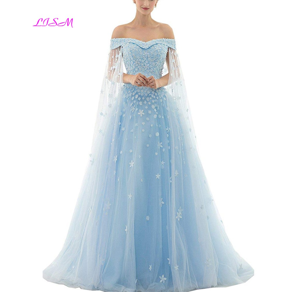 Elegant 2019 Off Shoulder   Prom     Dresses   A-Line 3D Flower   Prom     Dress   Vintage Sweetheart Sweep Train Evening Gowns vestidos de gala