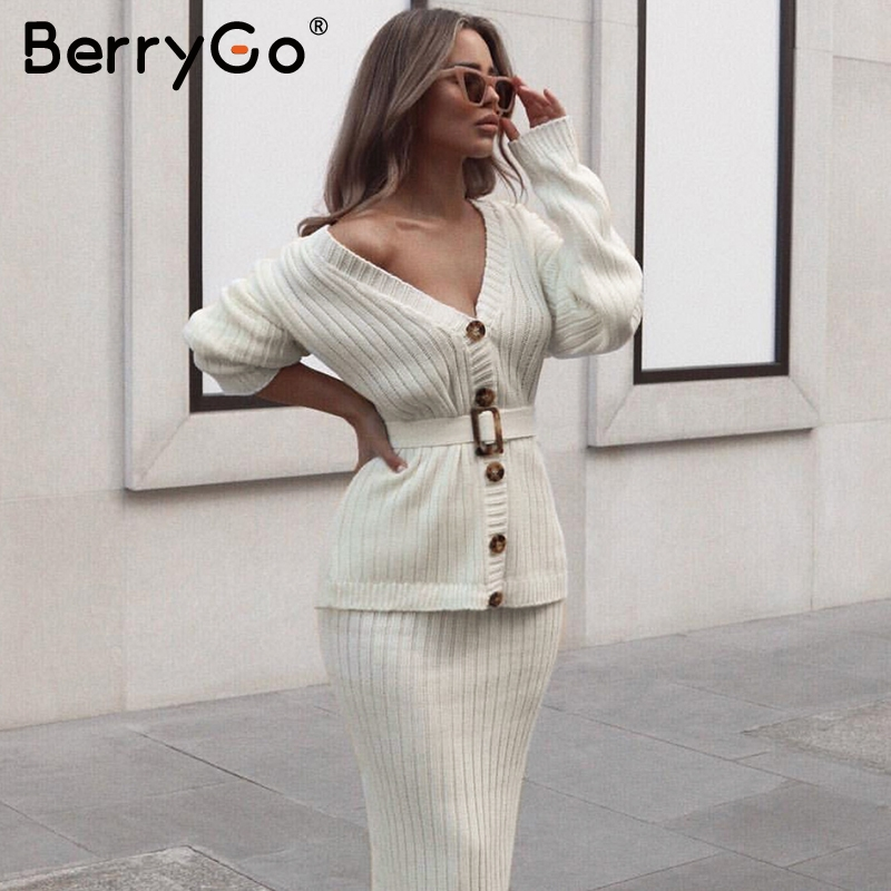 BerryGo Two piece women knitted dress set Elegant autumn winter sweater dress suits Long sleeve button sashes female skirt suit