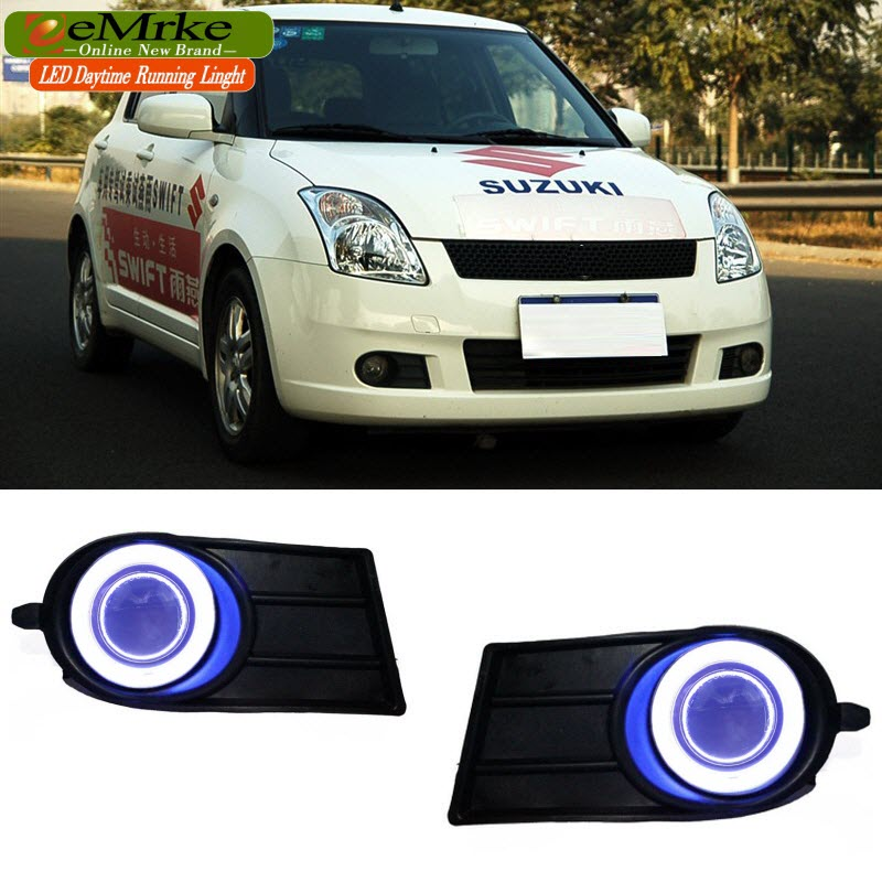 eeMrke LED Angel Eye DRL For 2006-2009 Suzuki Swift Fog Light Daytime Running Lights Tagfahrlicht Halogen Bulbs H11 55W leadtops car led lens fog light eye refit fish fog lamp hawk eagle eye daytime running lights 12v automobile for audi ae