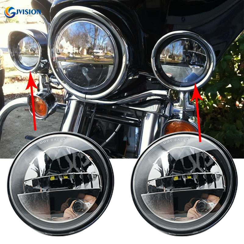 Round 4.5 inch Daymaker fog lights Auxiliary Passing Driving lamps for Harley Davidson Touring Electra Glide Heritage Softail 1pair 4 5inch 30w 4 inch daymaker projector led auxiliary lamps fog lights for harley davidson chrome housing