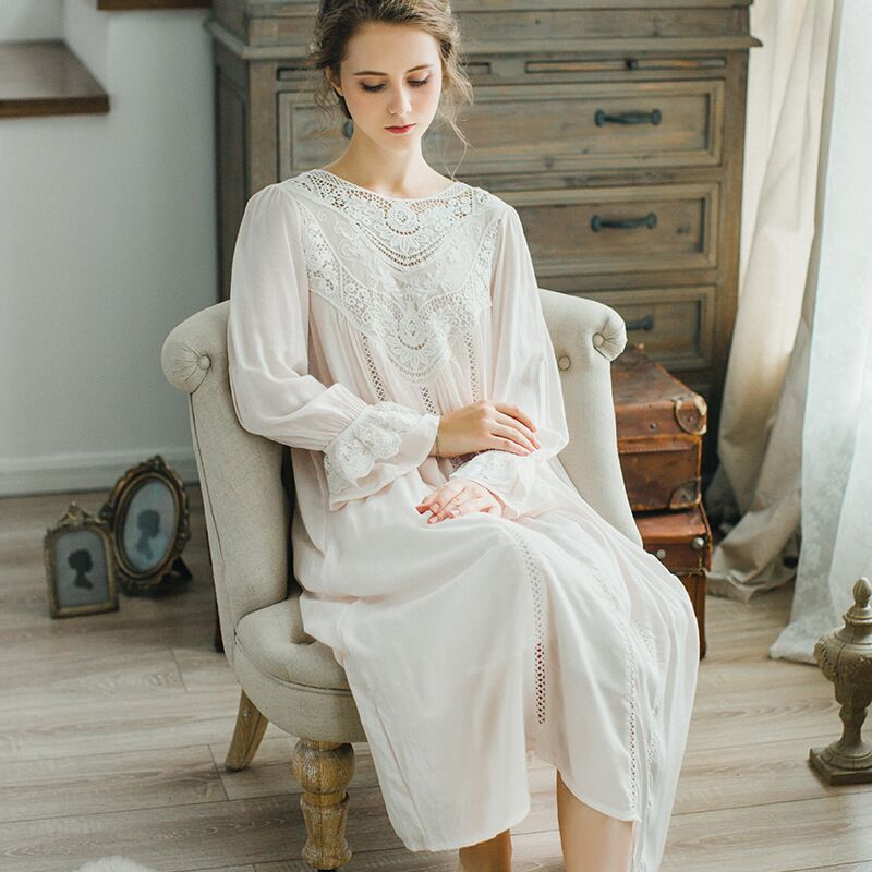 CFYH New Autumn Winter Sleepwear Solid Ladies Dresses Princess Long Sleeve Nighties Modal Lace Indoor Clothing Sexy Nightgowns