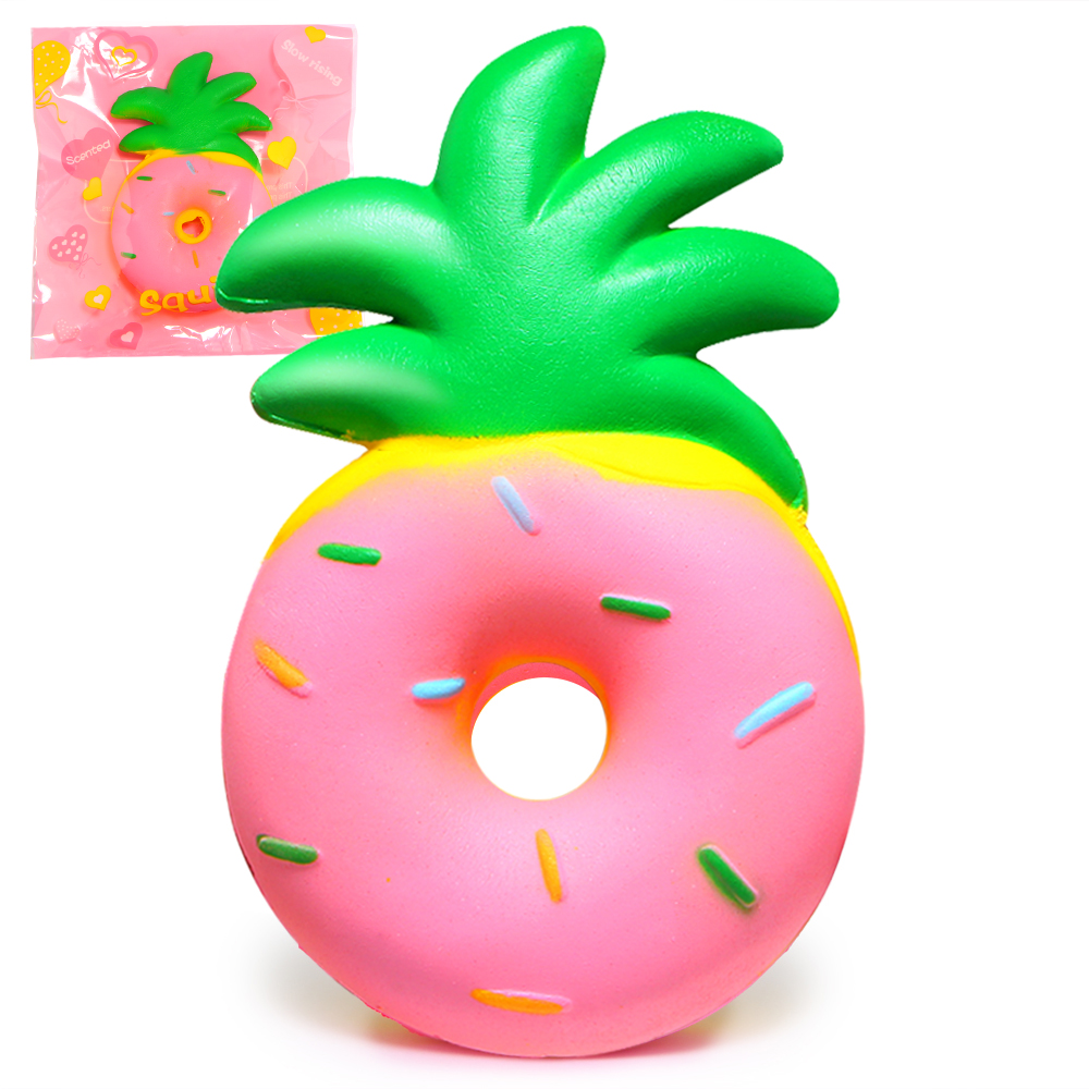 Jumbo Pineapple Donut Squishy Fruit Squishies Cream Scented Slow Rising Squeeze Toy Phone Strap Original Package