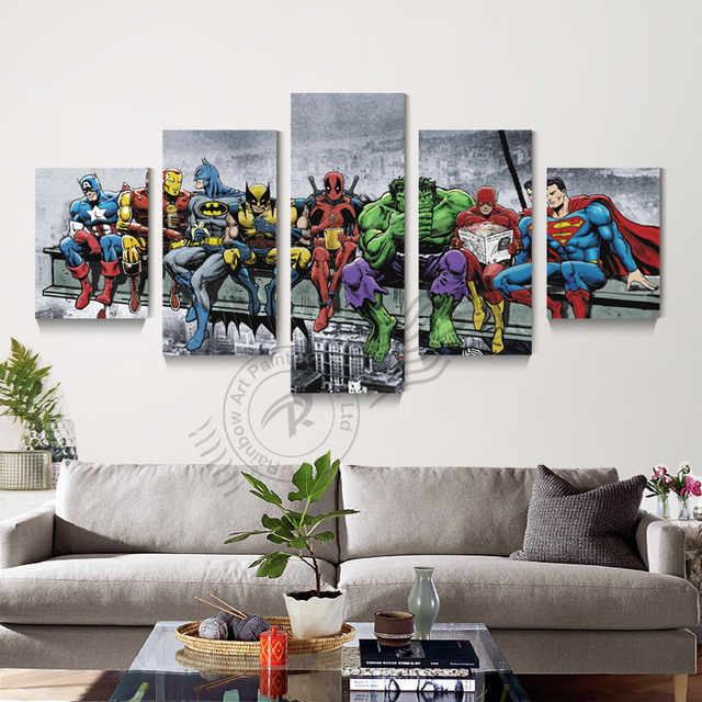 5 Panel Bat Man Movie Poster Canvas Art Oil Painting Home Decor Modular Wall Picture For Living Room Print Unframd Br0135