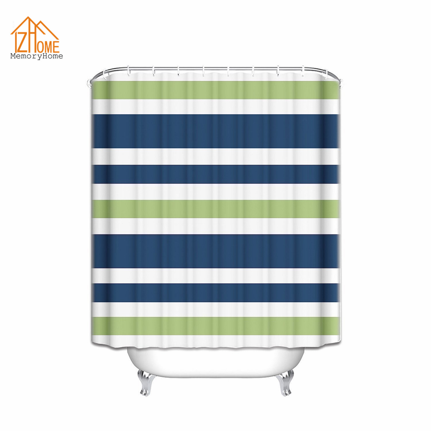 Blue and green striped shower curtain - Memory Home Kids Bathroom Waterproof Fabric Polyester Bath Stripes Shower Curtain Navy Blue Lime Green And