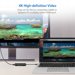Image 5 - USB C ל usb 3.0 2.0 רכזת HDMI עבור Thunderbolt 3 מתאם עבור MacBook Samsung Galaxy S9 Huawei Mate P20 20 פרו סוג C USB רכזת