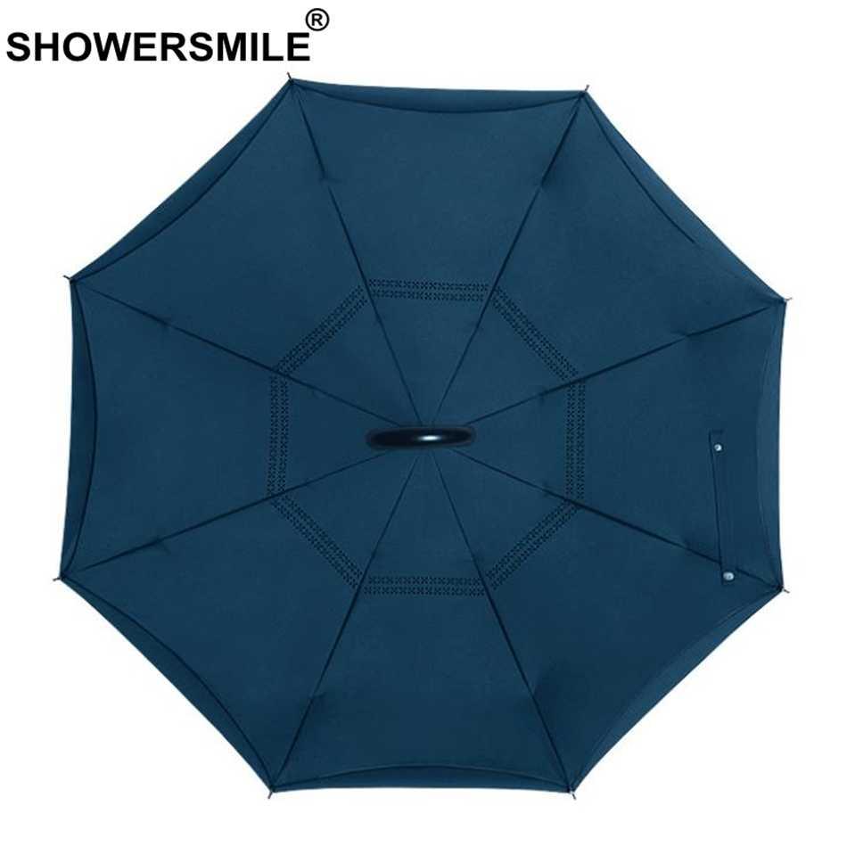 SHOWERSMILE перевернутый зонт автоматический мужской высококачественный черный складной автомобиль обратный двухслойный зонтик мужской перевернутый зонтик