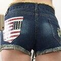 Nuevos vaqueros de las mujeres bolsillo de la bandera americana de verano de gran tamaño de las mujeres jeans de algodón denim shorts mujer zipper jeans hole shorts XL 5XL