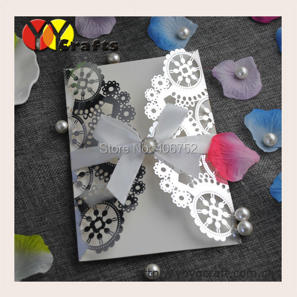 2016 metallic silver fancy laser cut 3d handmade chinese wedding invitation card with printing