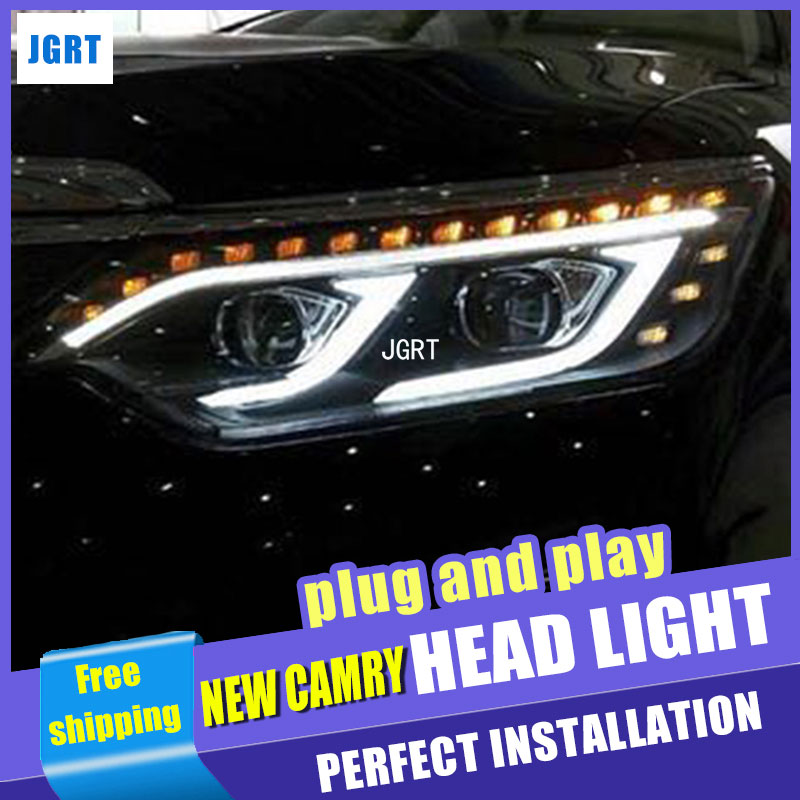 Car Styling for Toyota Camry V55 LED Headlight assembly 2015 New Camry Headlights drl Lens Double Beam H7 with hid kit 2 pcs. hireno headlamp for mercedes benz w163 ml320 ml280 ml350 ml430 headlight assembly led drl angel lens double beam hid xenon 2pcs