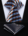 "Party Wedding Classic Pocket Square Tie TC706Z8S Brown Blue White Check 3.4"" Silk Woven Men Tie Necktie Handkerchief Set"