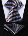 """Pocket Square Wedding Party Classic Corbata TC706Z8S Marrón Azul Blanco Compruebe 3.4 """"Tejido de Seda Hombres Corbata del lazo Pañuelo Set"""