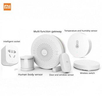 Xiaomi Gateway + дверь/окно, температура/влажность, датчик человеческого тела + беспроводной переключатель + умная розетка, Умный домашний комплект...