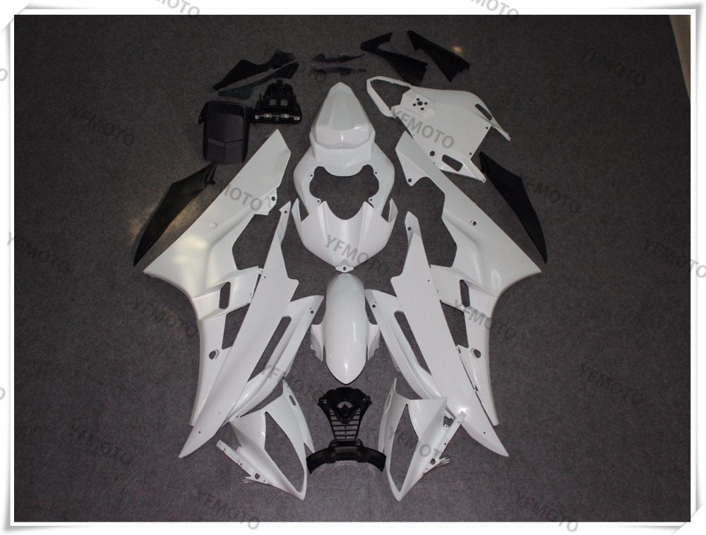 Motorcycle ABS Unpainted White Fairings BodyWork Kit For YAMAHA YZF-R6 YZF R6 2006 2007 +4 Gift red black moto fairing kit for yamaha yzf600 yzf 600 r6 yzf r6 1998 2002 98 02 fairings custom made motorcycle bodywork c821
