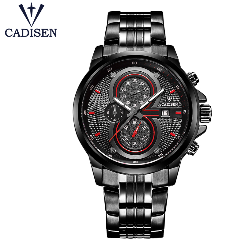цены CADISEN Men Watch Steel Sport 30M Waterproof Fashion Army Men's Watches Male Cock Chronograph Fashion Luminous Hands Hour New 8