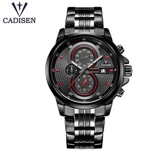 CADISEN Men sport Watch 30M Waterproof Army Men's quartz Watches Male Clock Chronograph Luminous pointer Dial diameter is 48mm