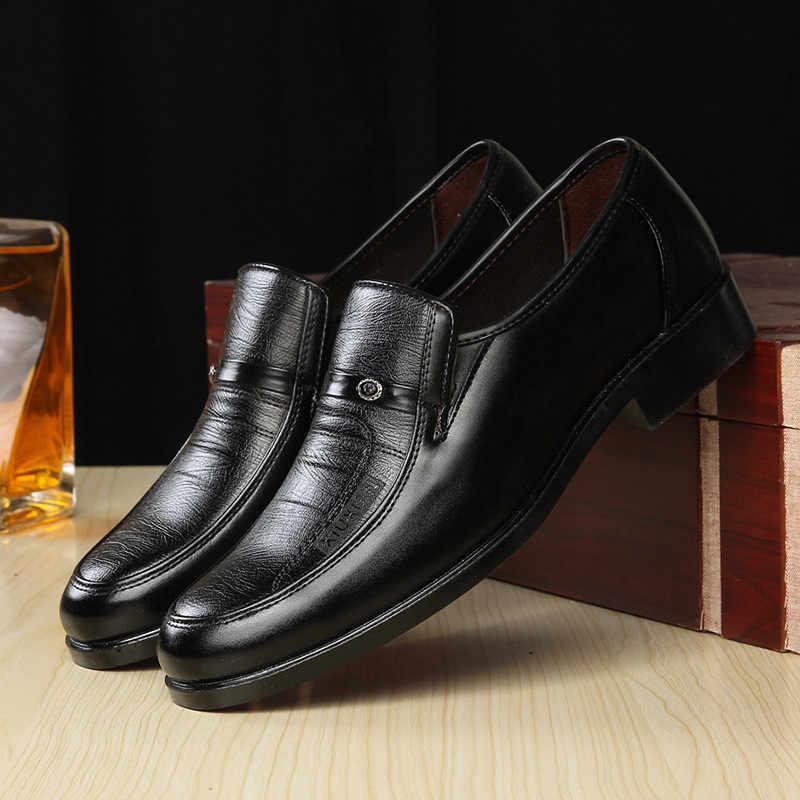 Zapatos formales de cuero de marca italiana para hombre, zapatos Oxford clásicos para hombre, zapatos de vestir de cuero, mocasines de hombre negro y marrón