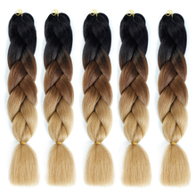 סינתטי Hair Extensions Ombre Kanekalon שיער קלוע אחד חתיכת 100g / Pack 24Inch אפרו בתפזורת ג'מבו הסרוגה צמות AOSIWIG