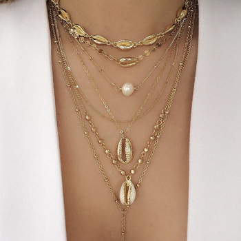 Vintage Gold Color Bead Cowrie Shell Choker Necklace for Women Coin Sequin Pendant