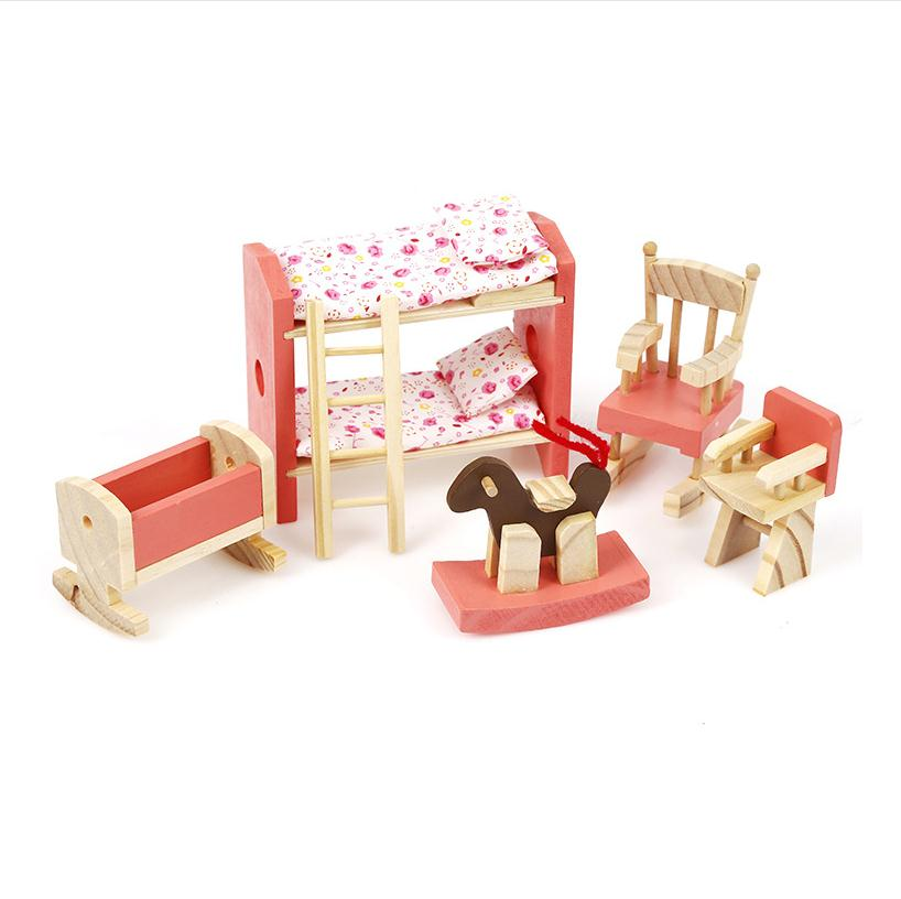 Wooden Doll House Miniature Bedroom Furniture Set Families Role Play Gift