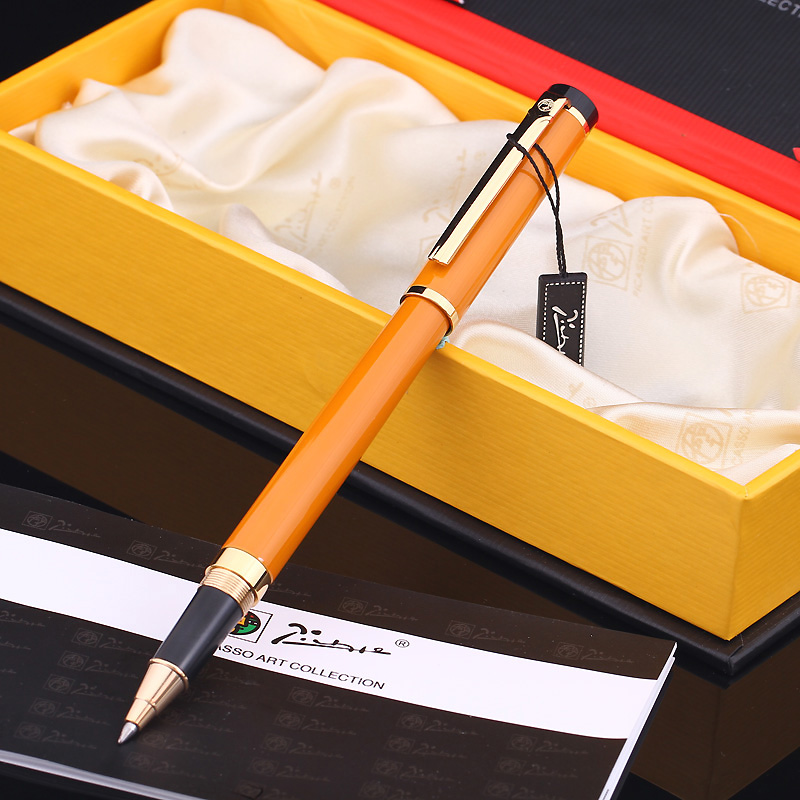Pimio 908 Fashion Orange and Gold Clip 0.7mm Black Ink Refill Roller Ball Pen with Original Gift Box Ballpoint Pens for Gift pimio 989f pure white and silver clip roller ball pen a black refill ballpoint pens set luxury gift box package free shipping