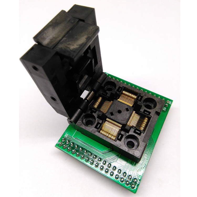 цена на 1pcs QFP64 Clamshell Slide Test Block STM32 Burn Block Programming Block LQFP64/TQFP 0.5mm Pitch QFP64