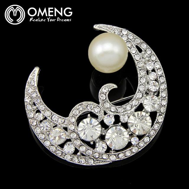 OMENG Мода Брошь Посеребренная Горный Хрусталь для Женщин Платье Луна Брошь OXZ003