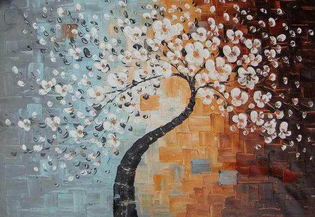 2014 Hotsale! Modern Oil Painting on Canvas. handmade oil painting Wall Art,Home,Hotel Decor.Autum Tree,paintingShipmet Discount