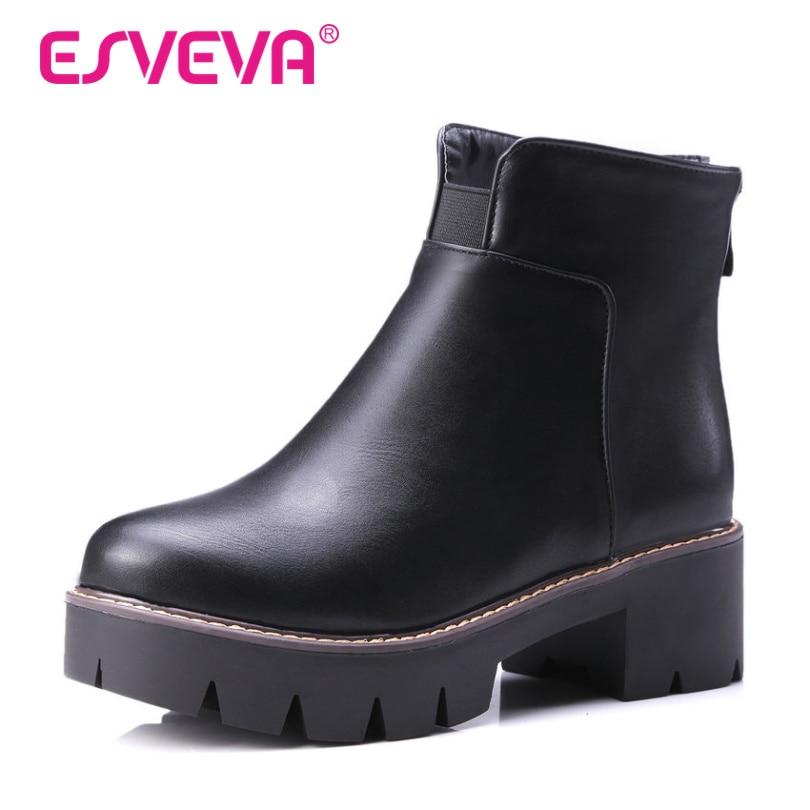 ФОТО ESVEVA 2016  British Style Soft PU Winter Shoes Women Fashion Boots Platform Shoes Ladies Square Heel Ankle Boots big Size 34-43