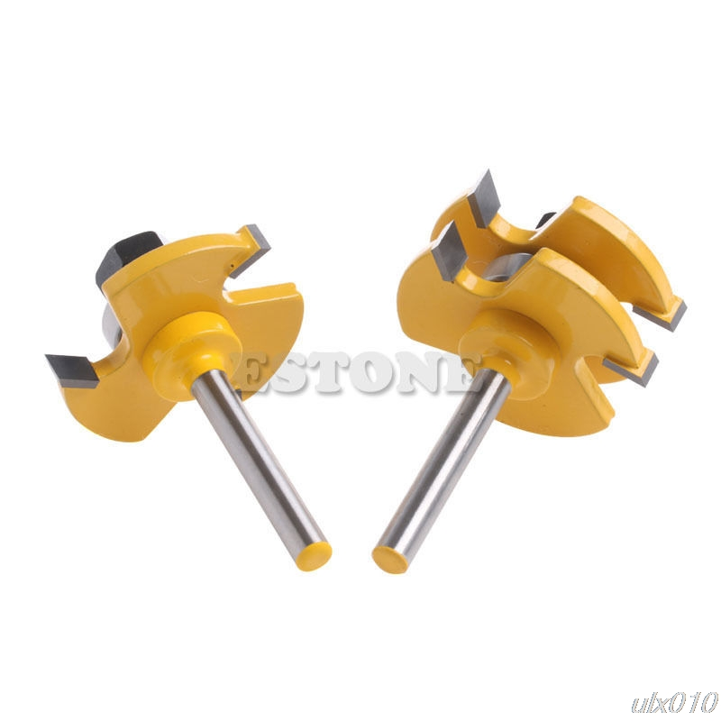 New 2Pcs Tongue & Groove Router Bit 3/4 Stock 1/4 Shank For Woodworking Tool S08 Drop ship 2pcs 1 4 shank tongue