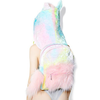 High Quality Sugar baby softy girl s tie-dyed colorful unicorn hooded  backpack removable hat cool street style funny coat velour school bag 906cff7e08342