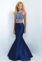 2014 New High Quality Beading Long Prom Dresses Custom Made Sexy Two Pieces Mermaid Evening Gowns Vestido longo