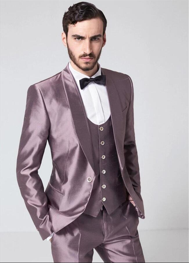 Custom Made Purple Shawl Lapel Satin Men Suit Slim Fit Tuxedo 3 Piece Prom Party Suit Wedding Suits For Men (Jacket+Pants+Vest)