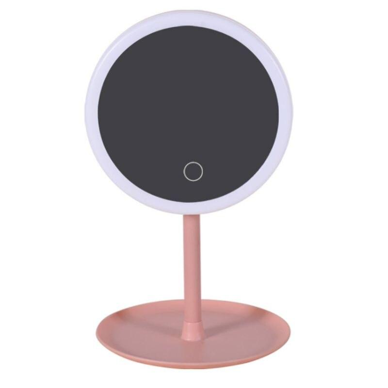 Desktop Wiederaufladbare Touch-taste Led-beleuchtete Schlafsaal Eitelkeit Make-up Spiegel Montiert 90 Grad Rotation Tisch Kosmetische Reichhaltiges Angebot Und Schnelle Lieferung Spiegel