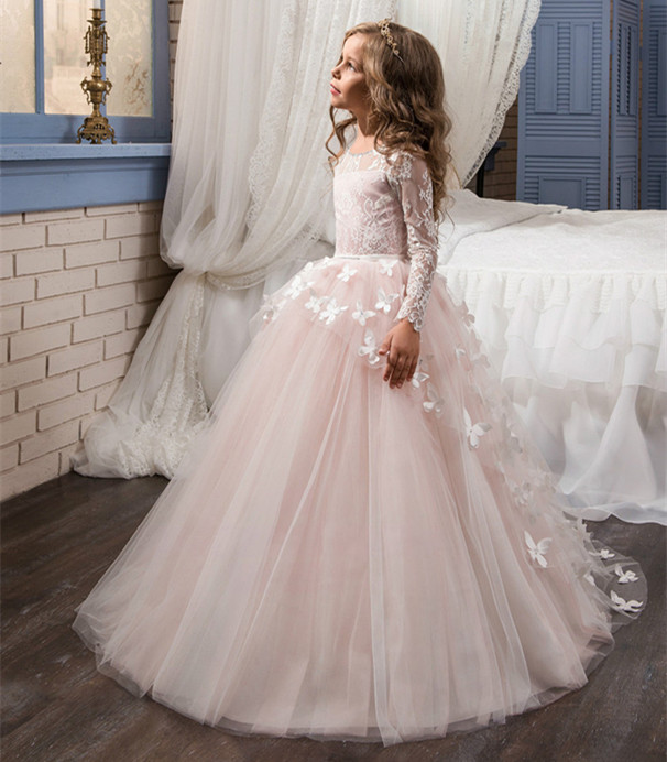 Long Sleeves First Communion Dresses Ball Gown Lace Back Button Solid O-neck Flower Girl Dresses Vestido De Daminha laconic lapel multi button patch pocket back slit long sleeves men s slimming blazer