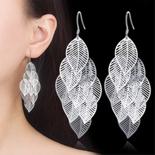 Womens Girls Fashion Sweet Multilayer Silver Leaf Tassel Pendant Earrings