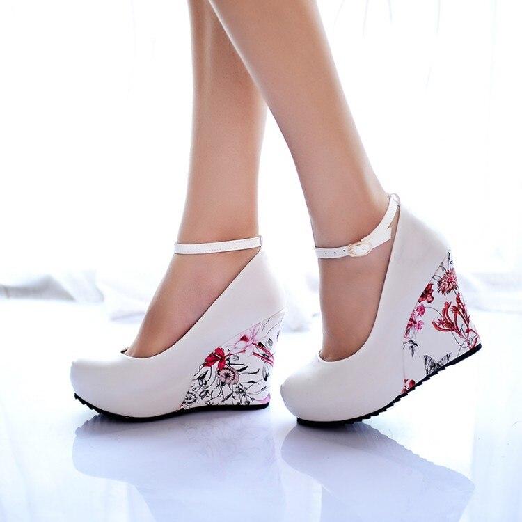 33-43! Fashion Ankle Strap 2016 High Wedges Platform Summer Pumps For Women Casual Elegant Flower Print Wedges Platform Shoes