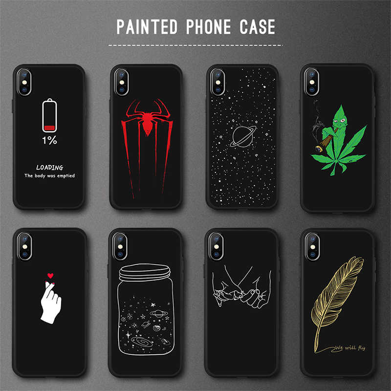 Leuke Liefde Patroon Telefoon Case Voor Iphone 7 8 6S 6 Plus X Cool Cartoon Gedrukt Matte Tpu Cover voor Iphone Xs Max X Xr 5S Se 5