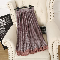 skirts Winter new oni high waist was thin leaves side stitching velvet retro pleated skirt