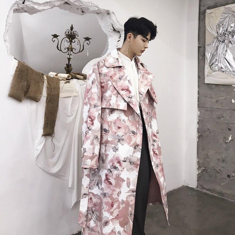 Для мужчин розовый цветок длинный плащ пальто мужской двубортный модные Бизнес Повседневное Свободный кардиган ветровка куртка одежда для...