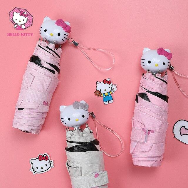 Hello Kitty Cartoon Mooie Meisje Womens Paraplu Pocket Mini Vouw Te Parasol Draagbare Vijf Opvouwbare Regenschirm Zonnescherm