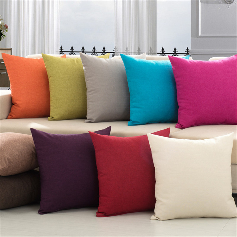 Modern Solid Cotton Linen Sofa Pute Embrace Pillow 45x45cm / 17.7x17.7 '' Kastepute Hjemmeinnredning Pillow Seatpute
