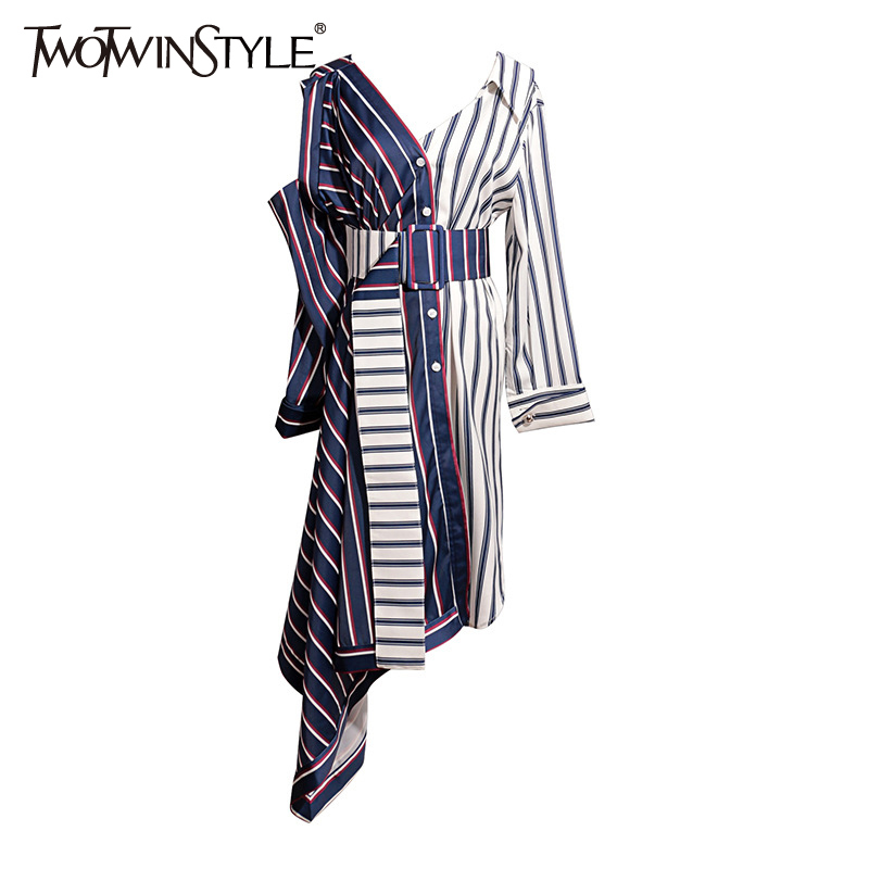 TWOTWINSTYLE Sashes Dress Women Striped Patchwork V Neck Hollow Out High Waist Asymmetrical Midi Dresses 2019