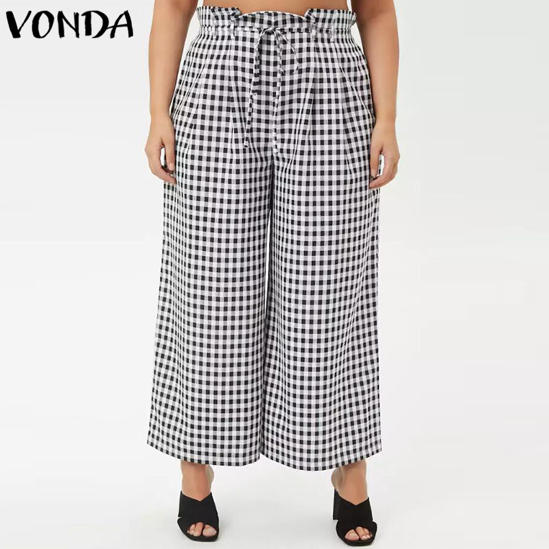 VONDA Women Plaid   Wide     Leg     Pants   2019 Autumn Plus Size Vintage Casual Loose High Waist Elegant Trousers Retro Oversized Bottoms