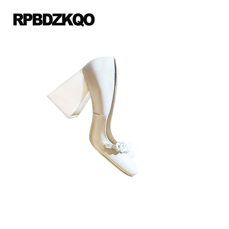 10 42 Genuine Leather Brand Block Ladies Pumps Size 33 Square Toe 3 Inch High Quality Sexy White Heels Shoes Big 2018 Customized - 4