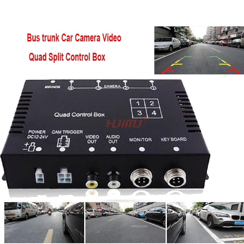 Car Camera Video Quad Split Control Box Mirror Switch For Bus Trunk for Front/rear/side camera NTSC/PAL Supported intelligent quad channel car camera video recorder dvr for rear front side view camera four split screen with remote controller