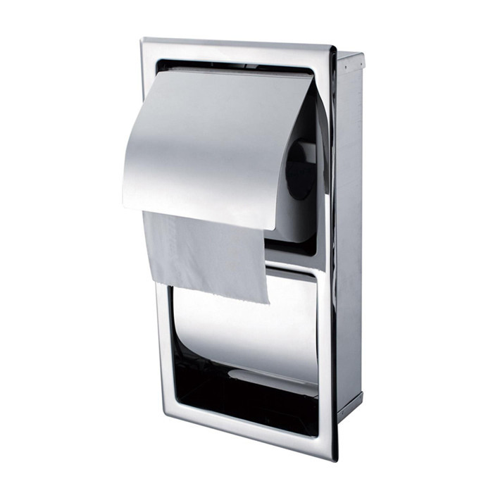 Free Shipping 304 stainless steel into wall toilet paper holder box toilet double paper box tissue box SB100-2