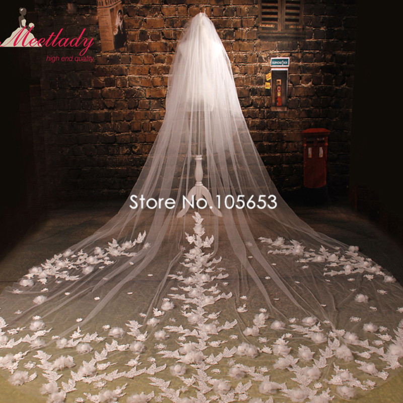 Fashion Cathedral Long Wedding Veil Lace With Comb Two Layers Flowers Bridal Crystal Pearls Accessories Rc17 In Veils From Weddings