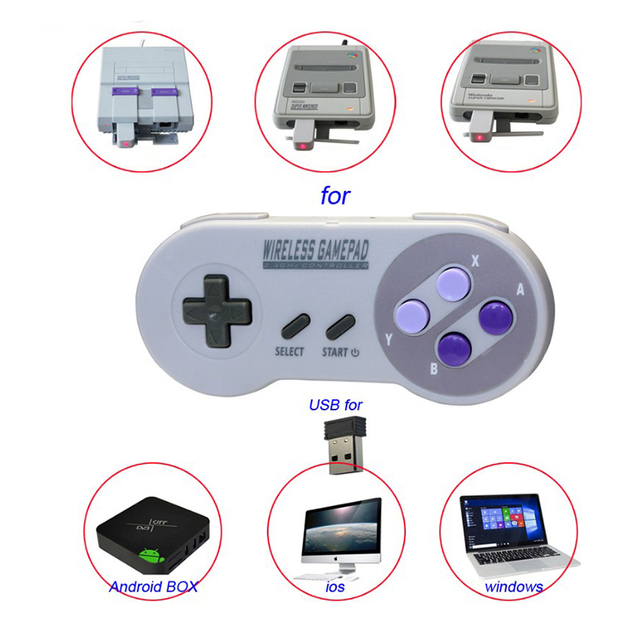 Wireless Gamepads 2.4GHZ Joypad Joystick Controller for SNES Super Nintendo Classic MINI Console remote Accessories